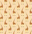 Cartoon giraffes on stripes pattern vector image