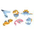 cute cartoon dinosaurs on a vector image