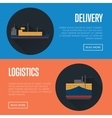 Delivery and logistics banner set with cargo ship vector image vector image