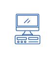 desktop computer line icon concept desktop vector image vector image