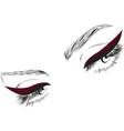 female eyes drawing long eyelashes vector image vector image