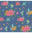 floral pattern colibri blue vector image vector image