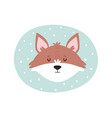 fox hand drawn face character vector image vector image