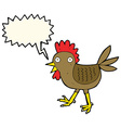 funny cartoon chicken with speech bubble vector image vector image