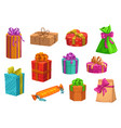 gift present boxes christmas or birthday giftbox vector image vector image