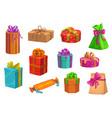 gift present boxes christmas or birthday giftbox vector image