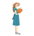 girl holds pumpkin isolated on a white background vector image