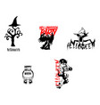 halloween night party element set template vector image vector image