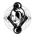 hand drawn of female head with door and stairway vector image