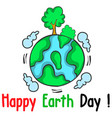 happy earth day world with tree vector image vector image