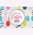 happy easter cute sale poster background with egg vector image vector image