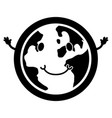 happy globe silhouette vector image vector image