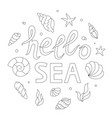hello sea lettering adult coloring page vector image