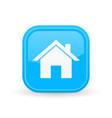 home icon blue square shiny button vector image