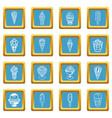 ice cream icons set sapphirine square vector image vector image
