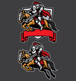 knight warrior riding horse mascot vector image vector image
