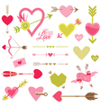 love heart and arrows set - for valentines day vector image vector image