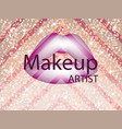 make up abstract gift card with purple lips vector image