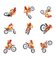 motorcyclist driving motorcycle set motocross vector image vector image