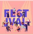 musical festival concept with musicians playing vector image vector image