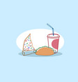 pizza slice sandwich and soda fast food set tasty vector image