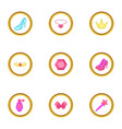 princess accessories icons set cartoon style vector image vector image