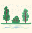 raining in forest bad weather conditions in park vector image vector image