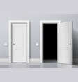 realistic open and closed white entrance doors vector image