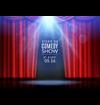 red curtain scene stage open curtains theater vector image vector image