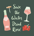 retro poster with rose wine glass wine grape vector image