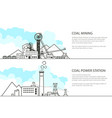 set of banners with mining and power station vector image vector image