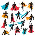 Set Of Black Superhero Silhouettes vector image vector image