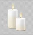 set of realistic white candles with fire vector image vector image
