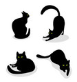 set with black cats with green eyes in different vector image