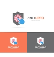 shield and click logo combination Security vector image