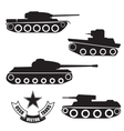 silhouettes of old Soviet tanks vector image vector image