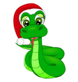 snake cartoon in Winter Hat the symbol of 2013 vector image vector image
