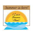 summer vacation sing in beautiful sunny beach vector image vector image