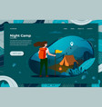 tourist girl with backpack night camping vector image vector image