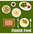 Traditional finnish cuisine flat icon vector image vector image