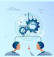 two business man point finger on cog wheel vector image vector image