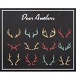 Vintage silhouettes of different deer horns vector image vector image