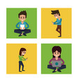 white background with colorful squares with man vector image vector image