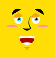 Cartoon good smiling face on yellow background Joy vector image
