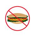 sign of prohibition hot dog hamburger fast food vector image