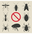silhouette insects set vector image