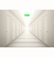 3d long light corridor with exit sign vector image vector image