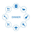 8 dinner icons vector image vector image