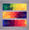 abstract style banners set with colorful circles vector image vector image