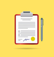 Agreement Contract and Pen with Signature vector image
